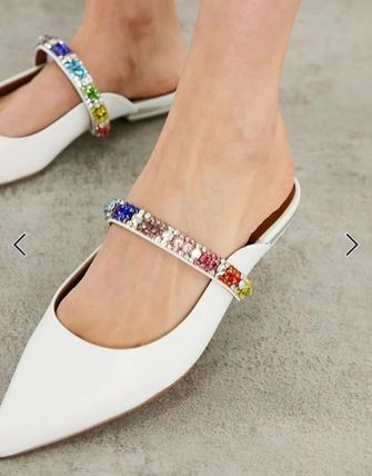 Mules Formal Style  Casual Style Plain Leather Block Heels
