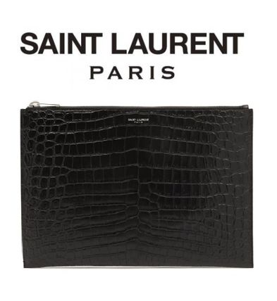 Saint Laurent Logo Other Animal Patterns Leather Clutches
