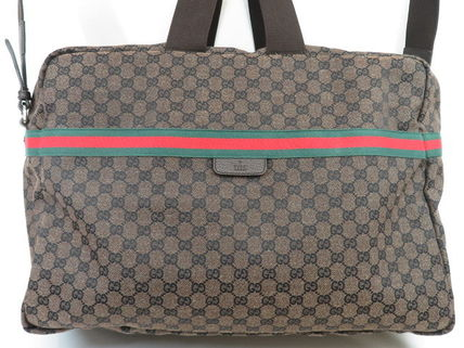 GUCCI Unisex Canvas Street Style Leather Logo Boston Bags