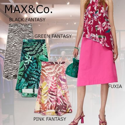 Max&Co. Flared Skirts Zebra Patterns Flower Patterns Casual Style