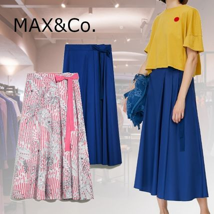 Max&Co. Flared Skirts Flower Patterns Casual Style Plain Cotton