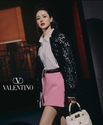 VALENTINO VLOGO Formal Style  Bridal Logo Casual Style Leather Party Style