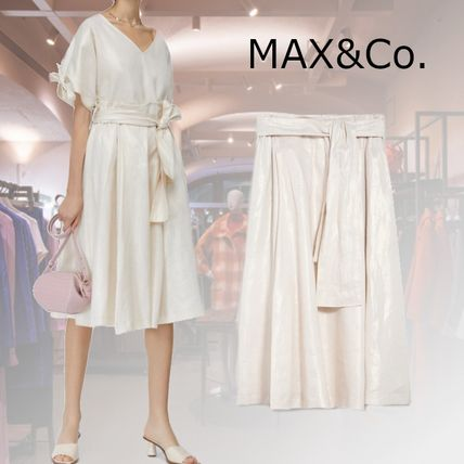Max&Co. Flared Skirts Casual Style Linen Plain Medium Party Style