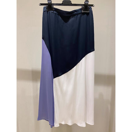 Max&Co. Flared Skirts Casual Style Plain Medium Party Style Midi