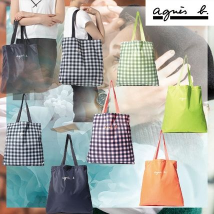 Gingham Casual Style Street Style Plain Logo Totes