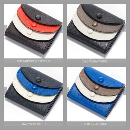 Logo Plain Leather Coin Cases