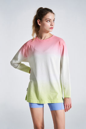 Long Sleeve T-shirt Logo U-Neck Long Sleeves Plain Cotton