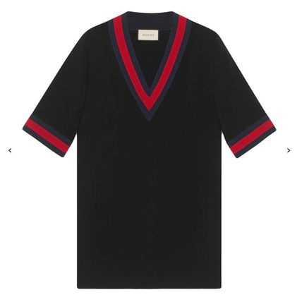GUCCI Stripes Casual Style V-Neck Plain Short Sleeves