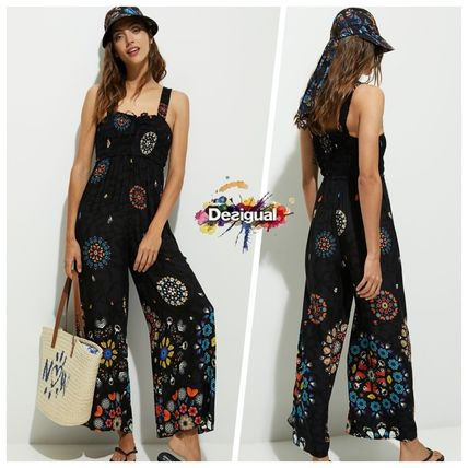 Flower Patterns Casual Style Sleeveless Long Dresses