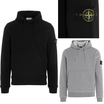 STONE ISLAND Pullovers Sweat Street Style Long Sleeves Plain Cotton