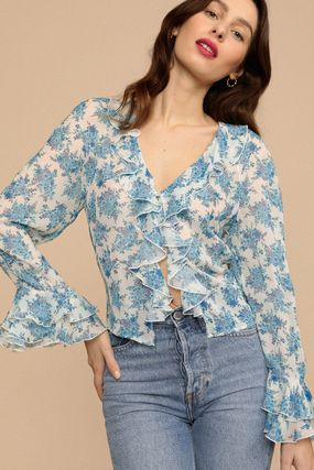 Rouje Formal Style  Short Flower Patterns Casual Style Chiffon