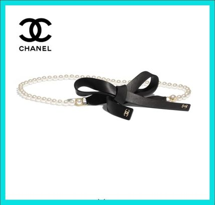 CHANEL Logo Casual Style Leather Street Style Party Style