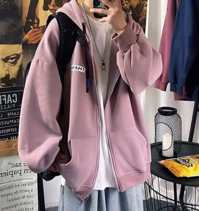 Hoodies Pullovers Sweat Street Style Long Sleeves Cotton Oversized