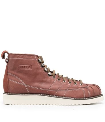 adidas SUPERSTAR Plain Toe Mountain Boots Street Style Plain Leather Logo