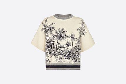 Christian Dior Crew Neck Tropical Patterns Casual Style Wool Cashmere