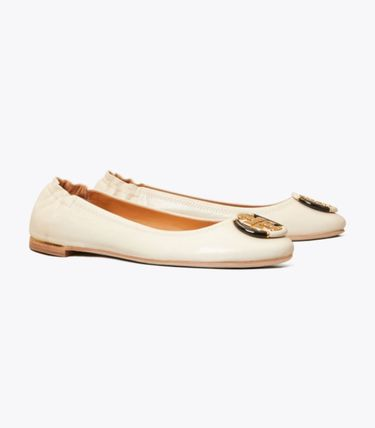Tory Burch Street Style Plain Leather Logo Ballet Shoes