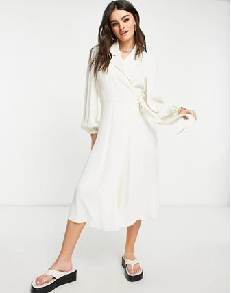 Wrap Dresses Casual Style A-line Street Style V-Neck Plain