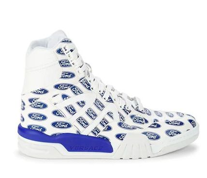 VERSACE Plain Leather Logo Sneakers