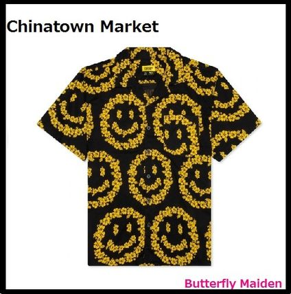CHINATOWN MARKET Shirts Button-down Cotton Short Sleeves Logo Front Button Shirts