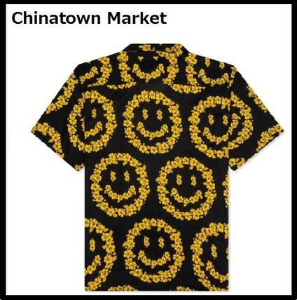 CHINATOWN MARKET Shirts Button-down Cotton Short Sleeves Logo Front Button Shirts 2