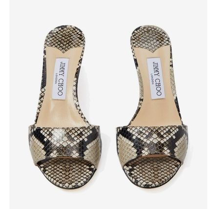 Open Toe Casual Style Pin Heels Python Elegant Style Mules