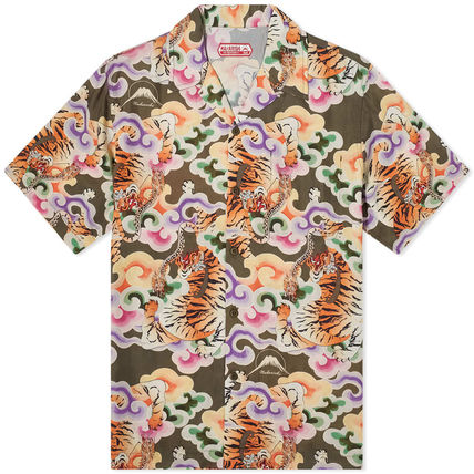 Logo Front Button Button-down Short Sleeves Street Style