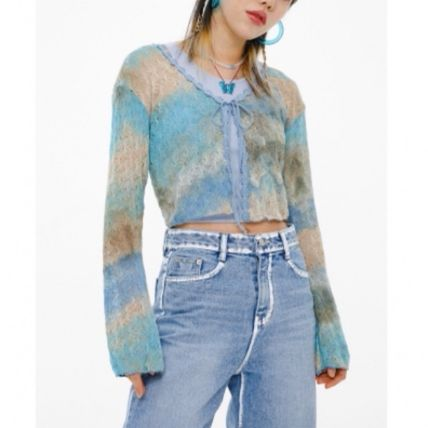 Short Casual Style Street Style Tie-dye Long Sleeves Cotton