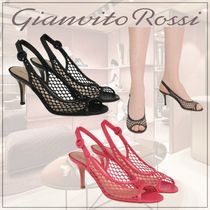 Gianvito Rossi Open Toe Casual Style Plain Pin Heels Party Style