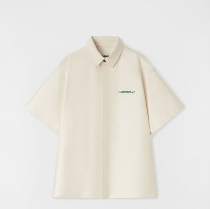 Jil Sander Street Style Plain Cotton Short Sleeves Front Button