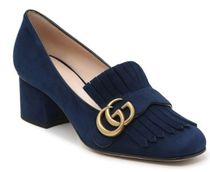 GUCCI GG Marmont Square Toe Suede Block Heels Office Style Elegant Style Logo