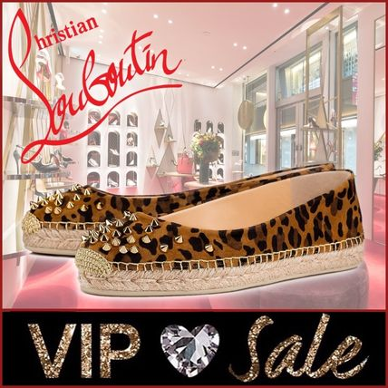 Christian Louboutin Leopard Patterns Platform Plain Toe Lace-up Casual Style