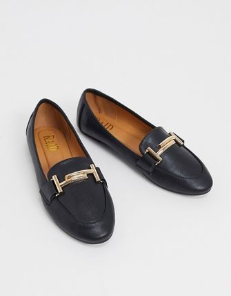 ASOS Raid Nidhi Loafer With Gold Snaffle In Black