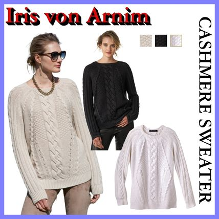 Logo Crew Neck Cable Knit Casual Style Cashmere Studded