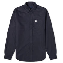 FRED PERRY Long Sleeves Cotton Logo Shirts