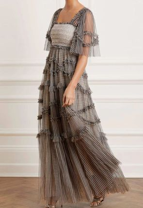 Formal Style  Bridal Gingham Stripes Maxi A-line Nylon
