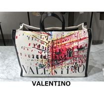 VALENTINO Unisex Canvas A4 2WAY Leather Logo Totes
