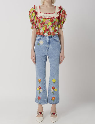 Short Flower Patterns Casual Style Cotton Cropped