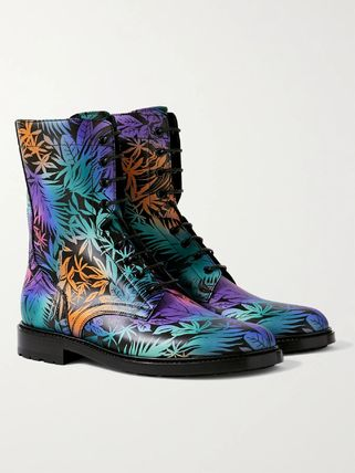 CELINE Tropical Patterns Leather Street Style Engineer Boots