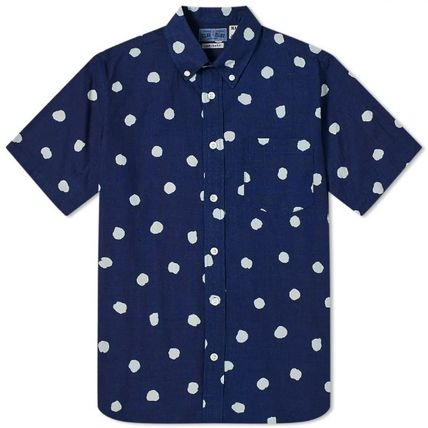 Button-down Dots Cotton Short Sleeves Street Style Shirts