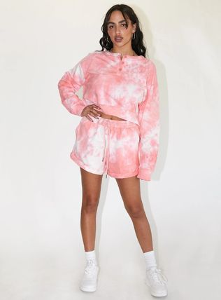 Princess Polly Short Casual Style Henry Neck Tie-dye Long Sleeves Dresses