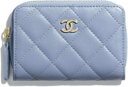 CHANEL Plain Small Wallet Logo Coin Cases