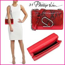 3.1 Phillip Lim Chain Leather Party Style Python Elegant Style Clutches