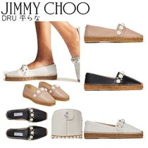 Jimmy Choo Platform Casual Style Leather Logo Espadrille Shoes