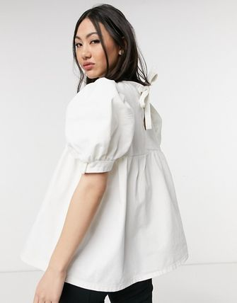ASOS Asos Design Denim Smock Top In White