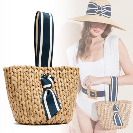 PAMELA MUNSON Straw Bags Stripes Plain Straw Bags