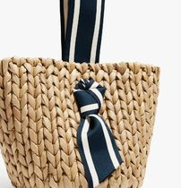 PAMELA MUNSON Straw Bags Stripes Plain Straw Bags 5