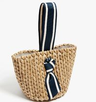 PAMELA MUNSON Straw Bags Stripes Plain Straw Bags 6