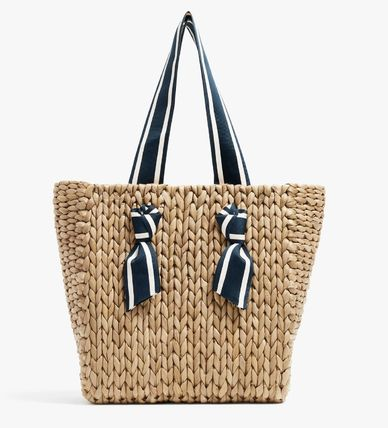 PAMELA MUNSON Stripes Plain Straw Bags