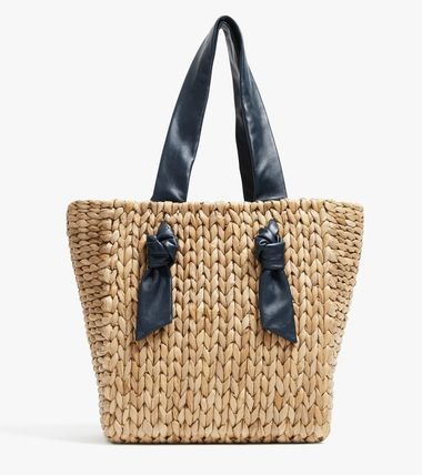 PAMELA MUNSON Plain Leather Straw Bags