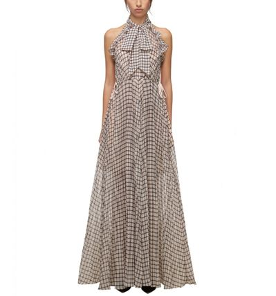 Other Plaid Patterns Maxi A-line Sleeveless Flared Long